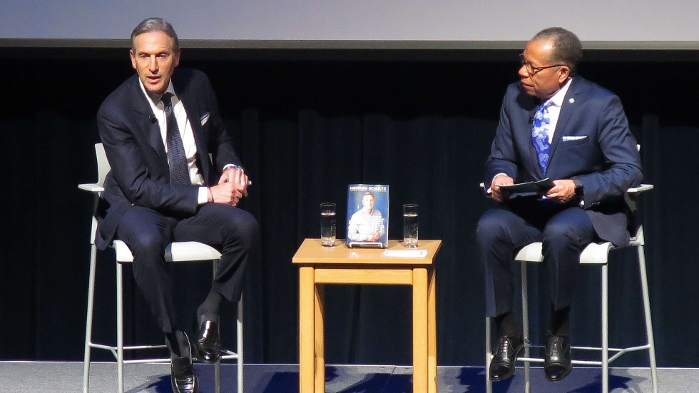 Former Starbucks CEO Howard Schultz with Cuyahoga Community College President Alex Johnson.