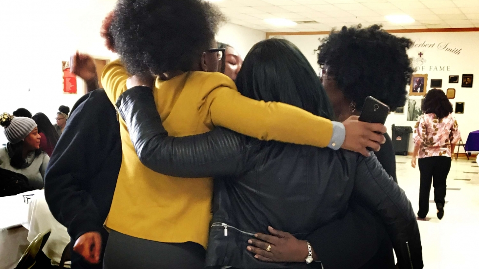 Girls from John Adams High School are part of a supportive all-girls group called Ladies Of Today. [Laura Fillbach / ideastream]