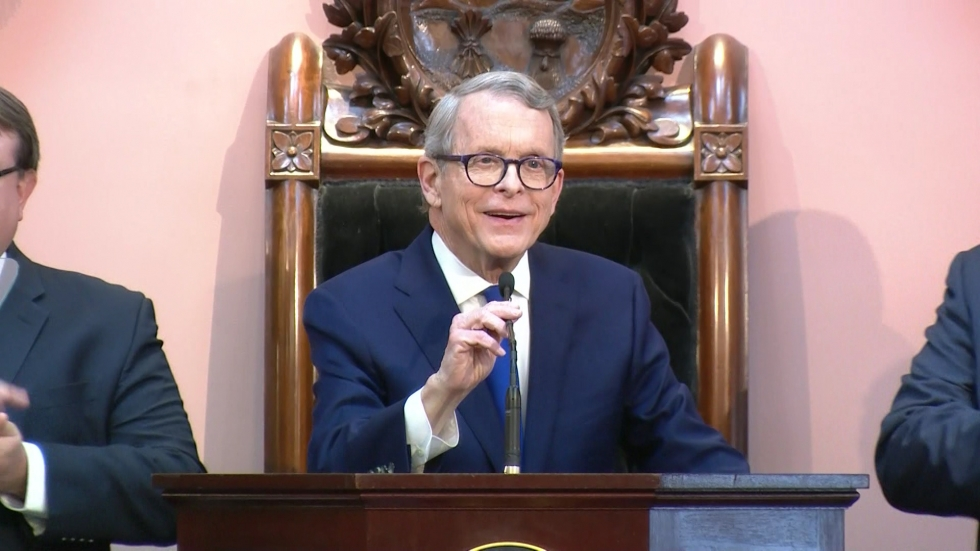 Ohio Governor Mike DeWine at the statehouse delivering his State of the State address.