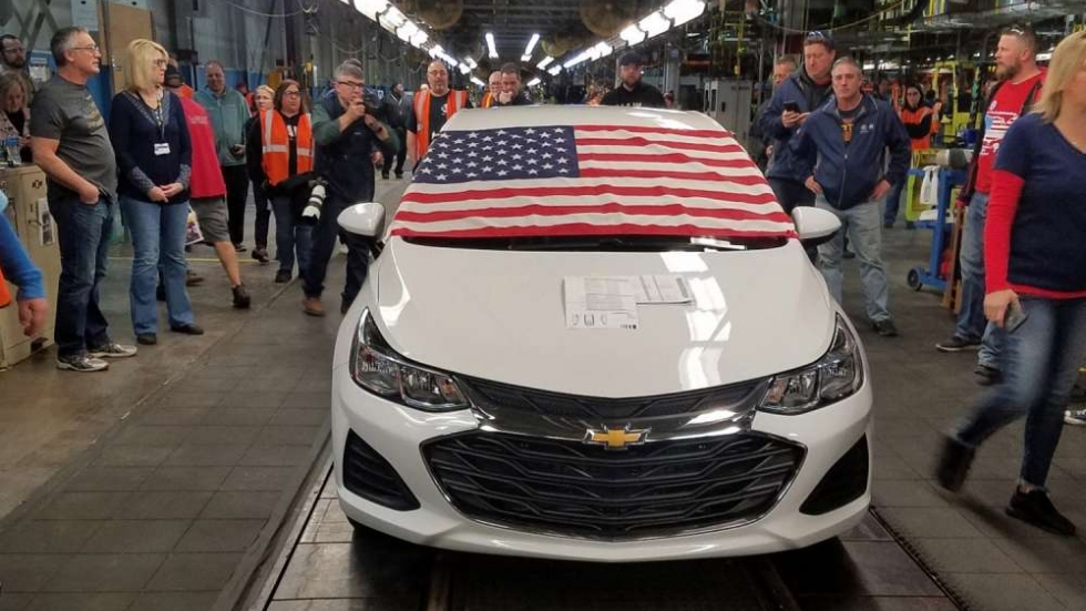 The last Chevy Cruze produced at the GM Lordstown plant rolled off the assembly line at 2:30 p.m. on Wednesday.