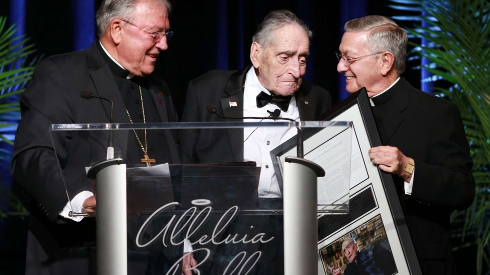 Emeritus Bishop Anthony Pilla (R) with Sam Miller and Bishop Roger Gries (left) at the 2015 Catholic Diocese of Cleveland Alleluia Ball. [Cleveland Diocese]