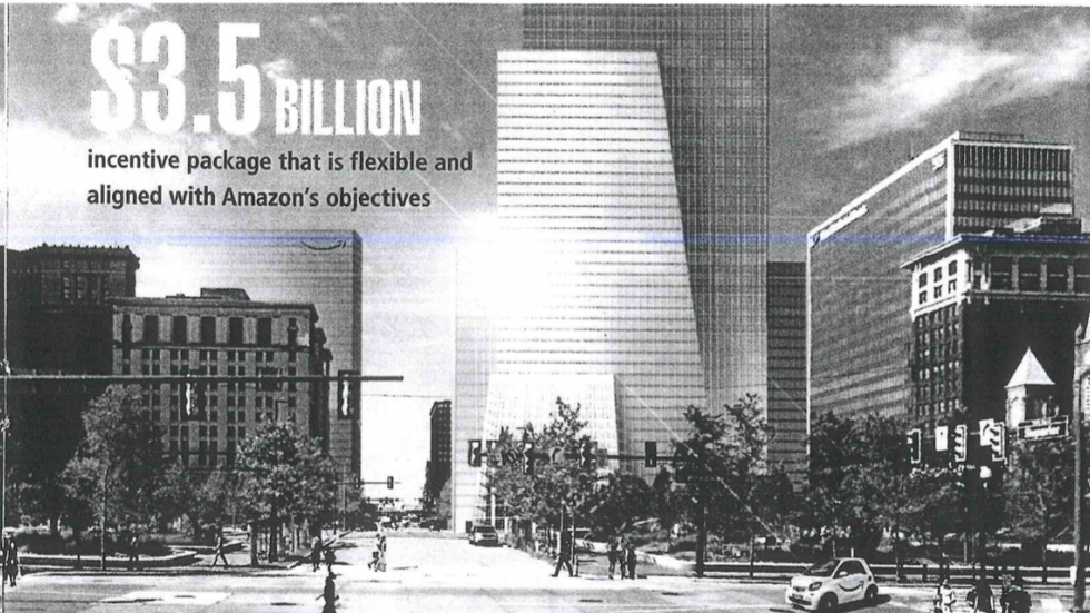 A page in Cleveland's Amazon bid highlighted the incentive package and a proposed new downtown building for the tech giant.