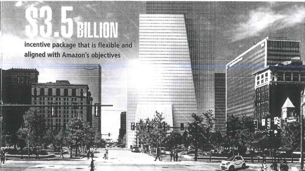 A page in Cleveland's Amazon bid highlighted the incentive package and a proposed new downtown building for the tech giant. [City of Cleveland]
