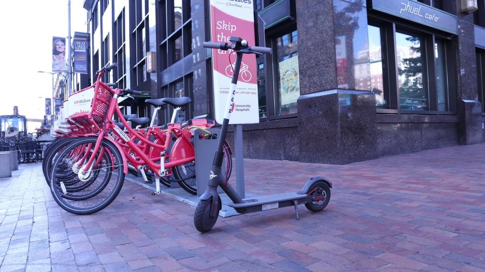 A Bird scooter sits at Playhouse Square in 2018.