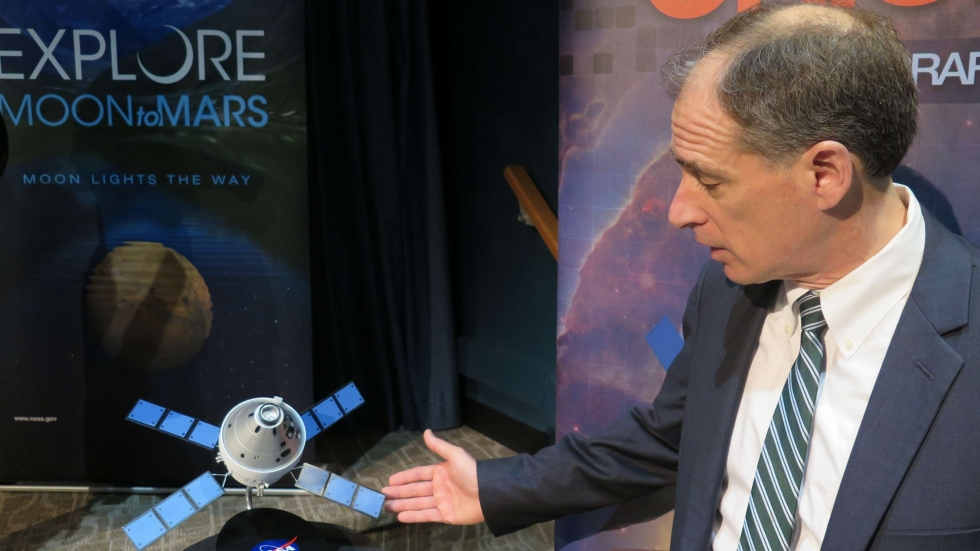 NASA Glenn Space Flight Systems director Bryan Smith discusses the Orion spacecraft, designed to carry astronauts to the moon, Mars and beyond. [Will Kovach / ideastream]