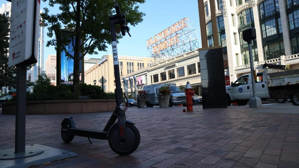 A bird dockless electric scooter parked on Playhouse Square in Cleveland