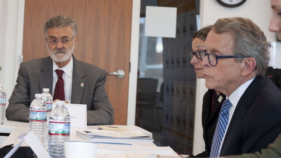 Cleveland Mayor Frank Jackson and Gov. Mike DeWine at a roundtable discussion about the lead crisis in Cleveland at University Hospitals.