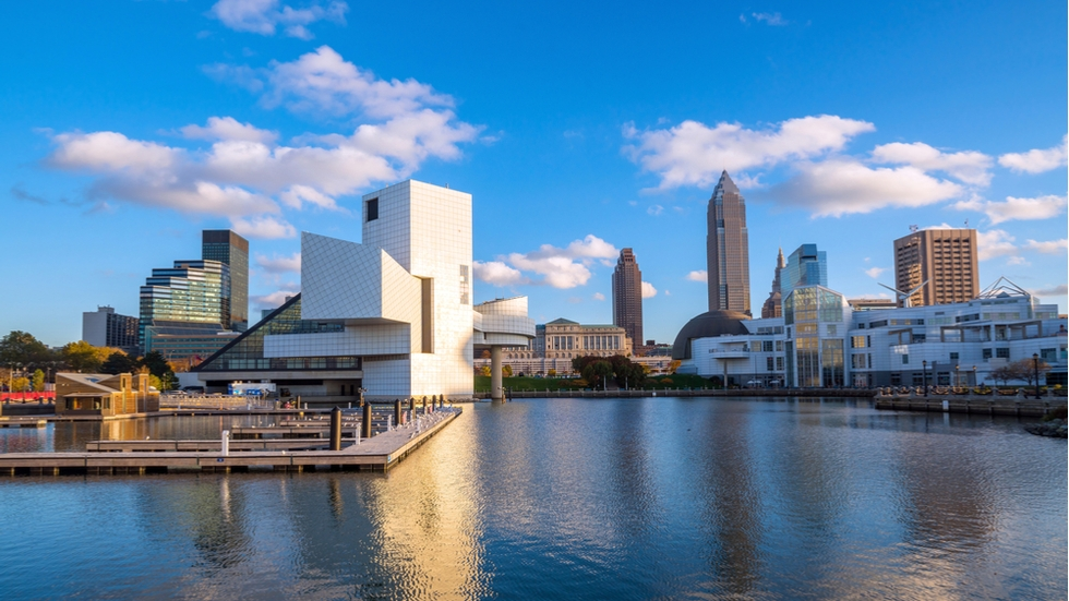 Stock image of the Rock and Roll Hall of Fame, Great Lakes Science Center, and downtown Cleveland.