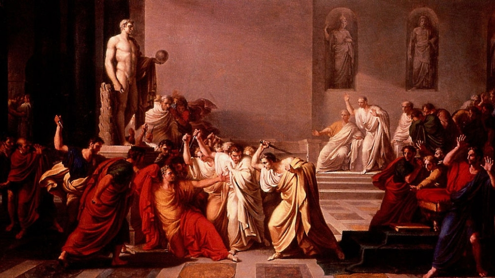 The classic painting of the The Death of Julius Caesar by Vincenzo Camuccini.