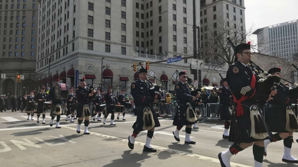 Bagpipers head north on W. Roadway in Cleveland' Public Square during the annual St. Patrick's Day Parade, March 17, 2019.