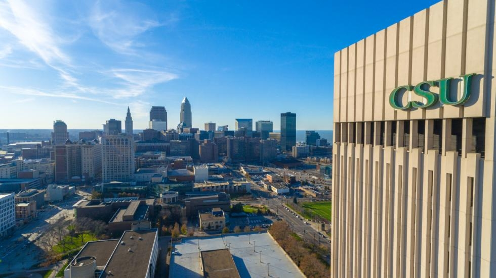 A view of Cleveland State University looking towards downtown Cleveland.