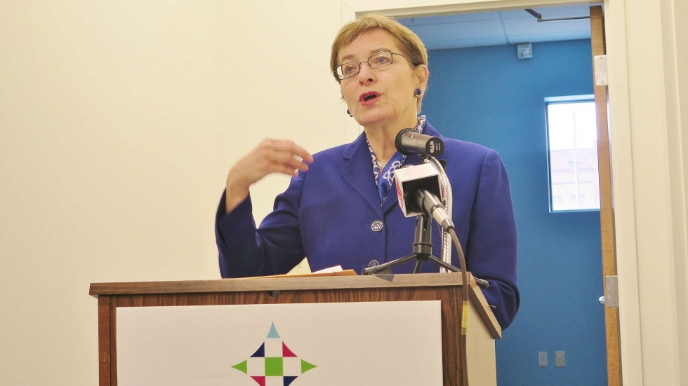 Marcy Kaptur, D-Toledo, speaking at a press conference at a Cleveland health clinic.