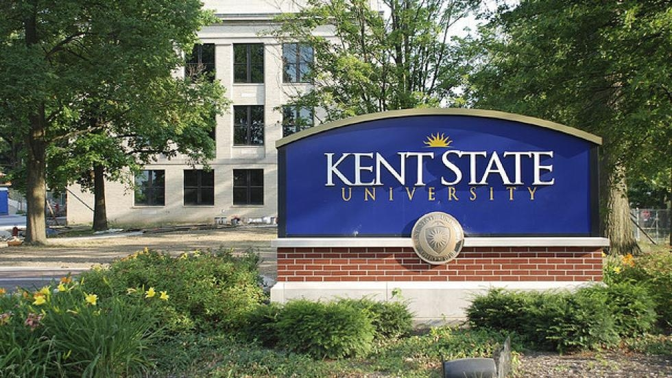 One of the Kent State University signs on its campus
