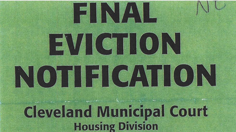 An eviction notice from Cleveland Housing Court.
