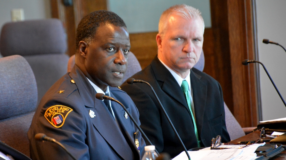 Cleveland Police Chief Calvin Williams, left, and Commander Michael Connelly address city council on Wednesday.