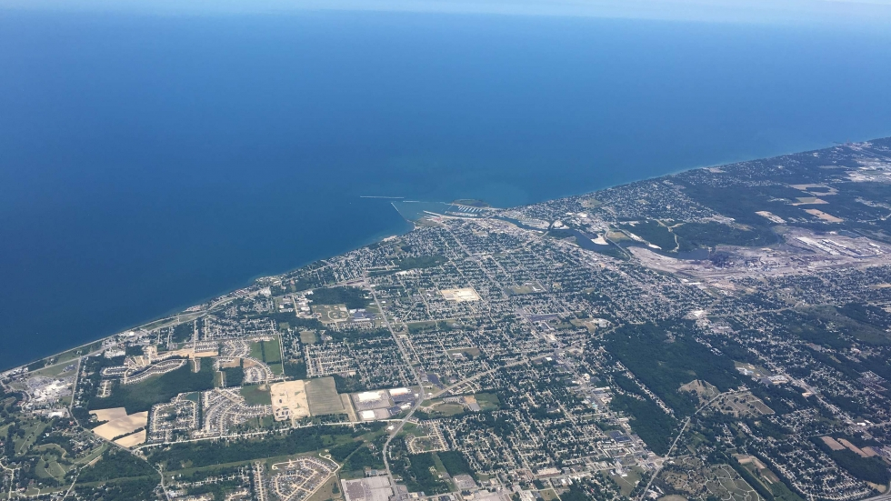 Aerial view of Lake Erie