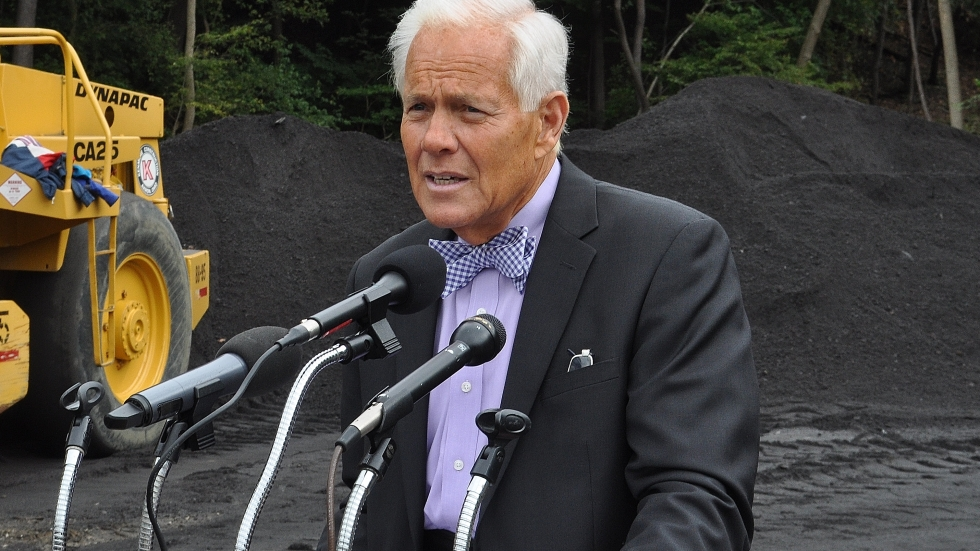 Former Akron Mayor Don Plusquellic at a press conference on a construction site in 2014.