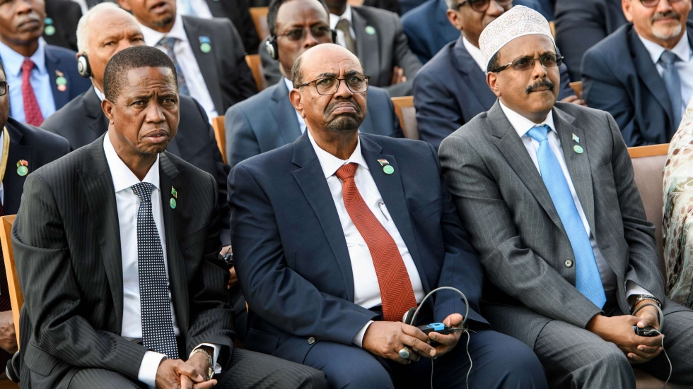 Former Sudanese President Omar al-Bashir (center) sits during the 2018 inauguration of Turkish President Recep Tayyip Erdogan.