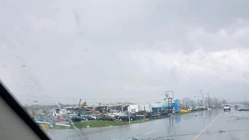 Tornado damage at Rocket Chevrolet along Mansfield Ave. in Shelby, Ohio.