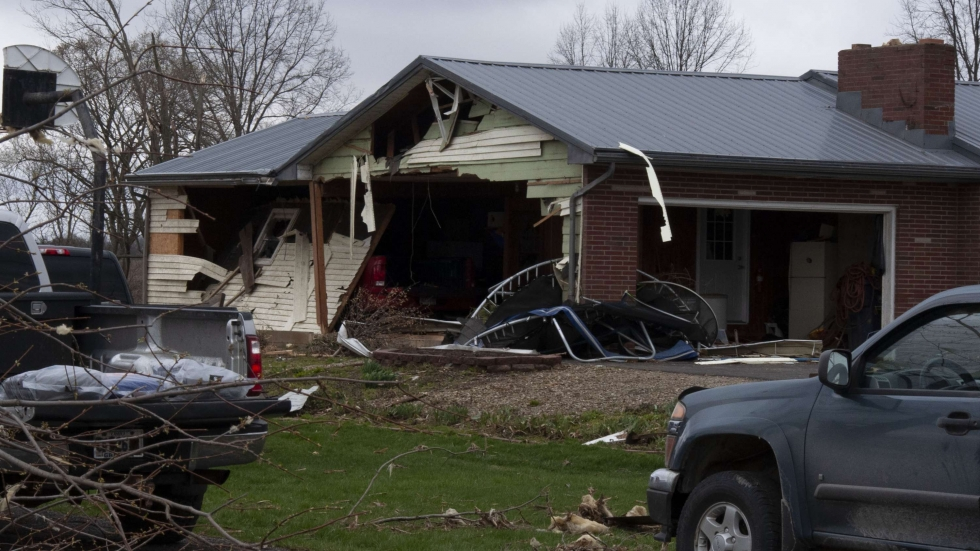 A home in Shelby, Ohio, damaged by the tornado on Sunday, April 14, 2019. A wall has been almost totally ripped off of the home by the storm.