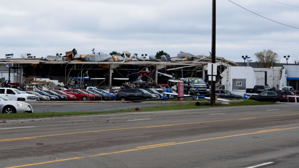 The Rocket Chevrolet dealership was heavily damaged by the tornado that came through Shelby, Ohio, on Sunday, April 14, 2019.