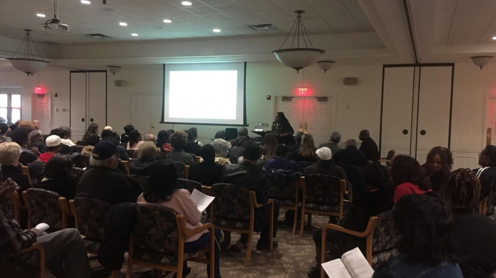East Cleveland residents gathered to discuss plans for bringing healthy food to their neighborhood.