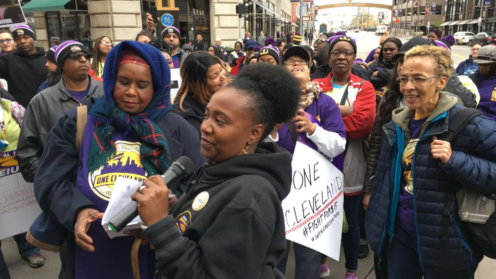 Janitors, members of SEIU Local One, marched in Playhouse Square for higher wages on Tuesday April 16, 2019.