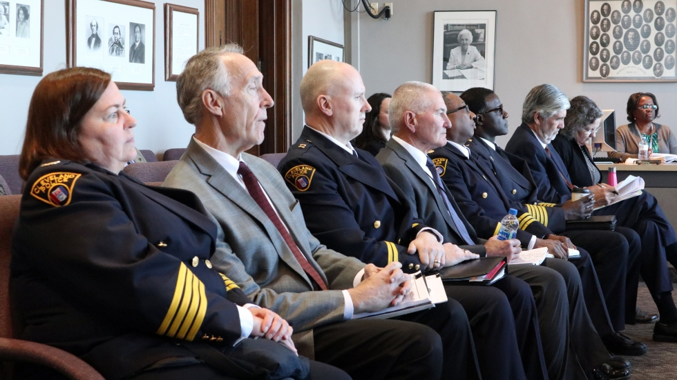 Officials from Mayor Frank Jackson's administration and the Cleveland Division of Police, waiting for a hearing Wednesday of the City Council Safety Committee to begin. [Adrian Ma / ideastream]