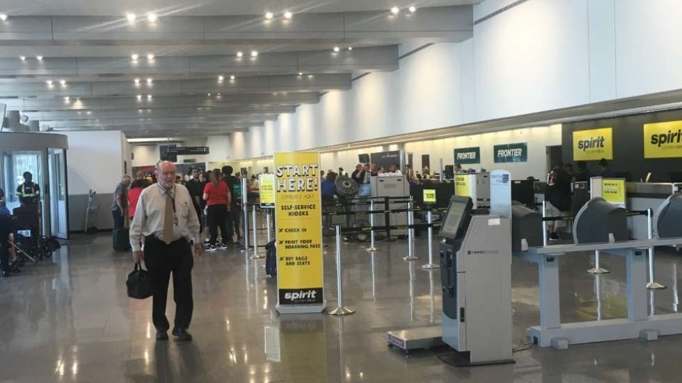 The ticketing area at Cleveland Hopkins Airport. Flight and baggage information systems as well as email are out for a third day after a cyber-attack.