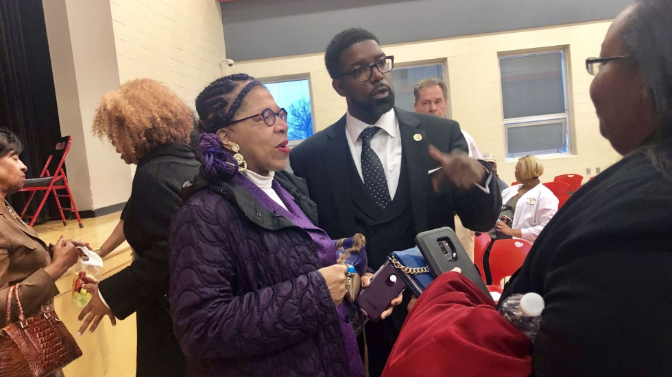 Dr. Henry Pettiegrew II spoke with members of the community after presenting his plan to turn around the East Cleveland School District.