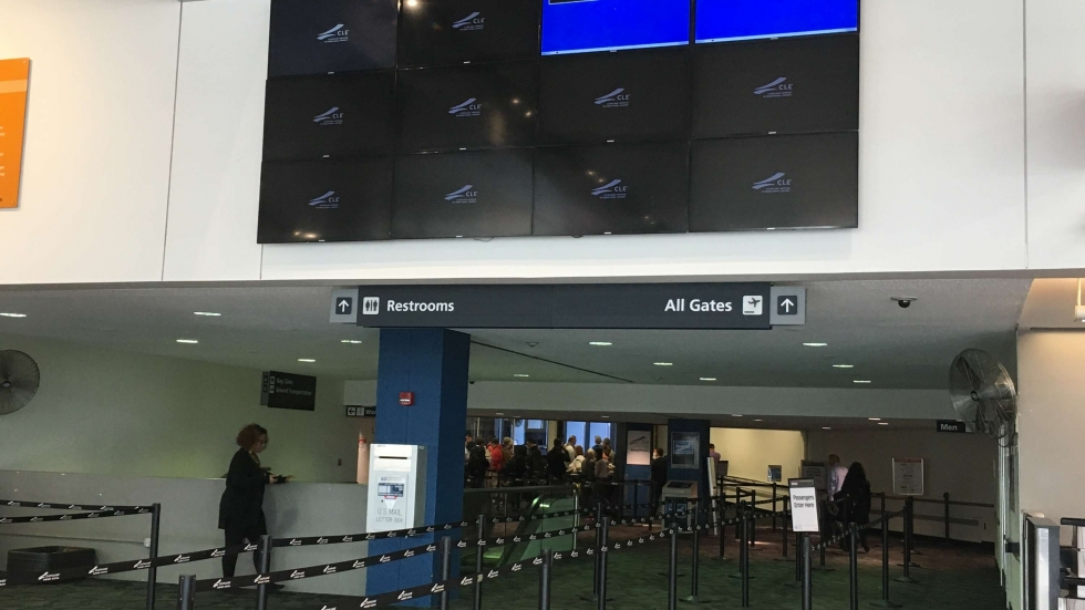 Blank flight information screens at Cleveland Hopkins Airport. The city criticized reports blaming the outage on hackers but refused to offer any additional information on the cause.