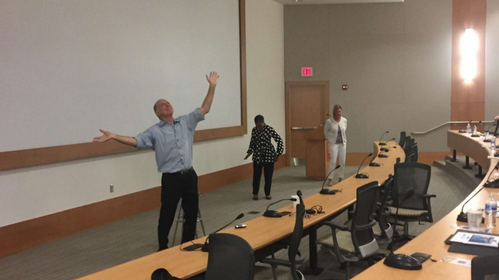 During the workshop, Dr. James Gordon taught how dancing and movement could be used as techniques for self-care. (Photo: Lecia Bushak / ideastream)