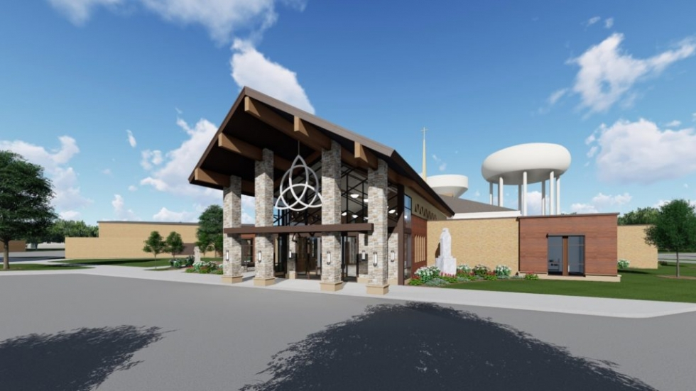 A rendering of the outside of the St. Ambrose Church from 2017 before work began renovations.