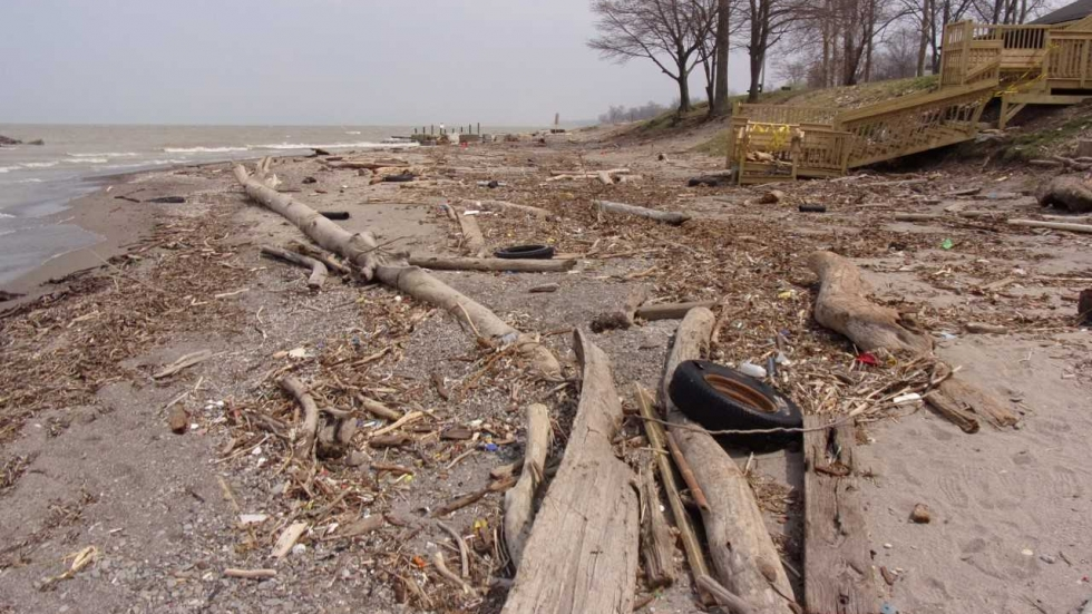 High waves caused damage in Madison Township Park