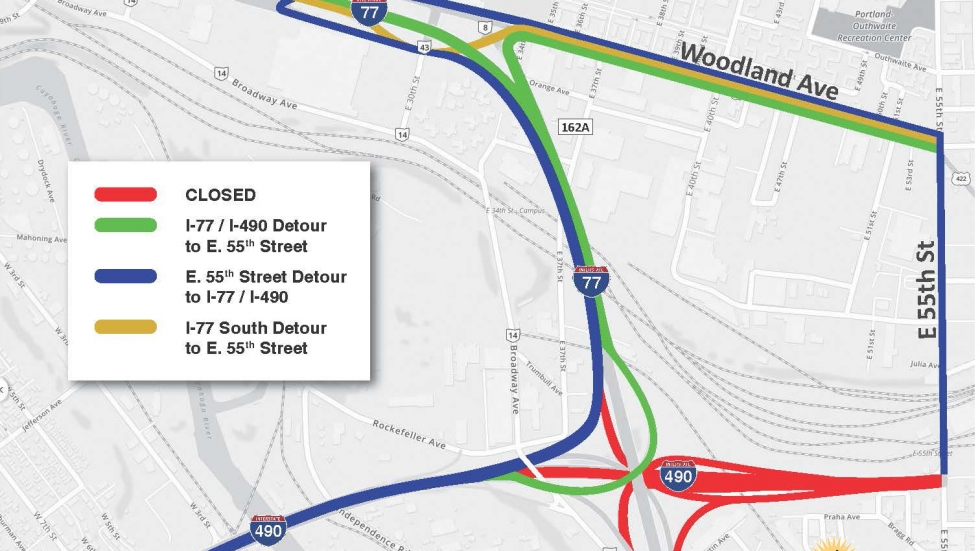 An illustration showing the detour routes that will be available after I-490 is closed. [Ohio Department of Transportation]