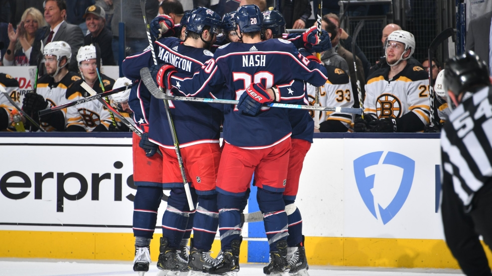 The Columbus Blue Jackets celebrate their victory against the Boston Bruins in the third game of their second round Stanley Cup playoffs.