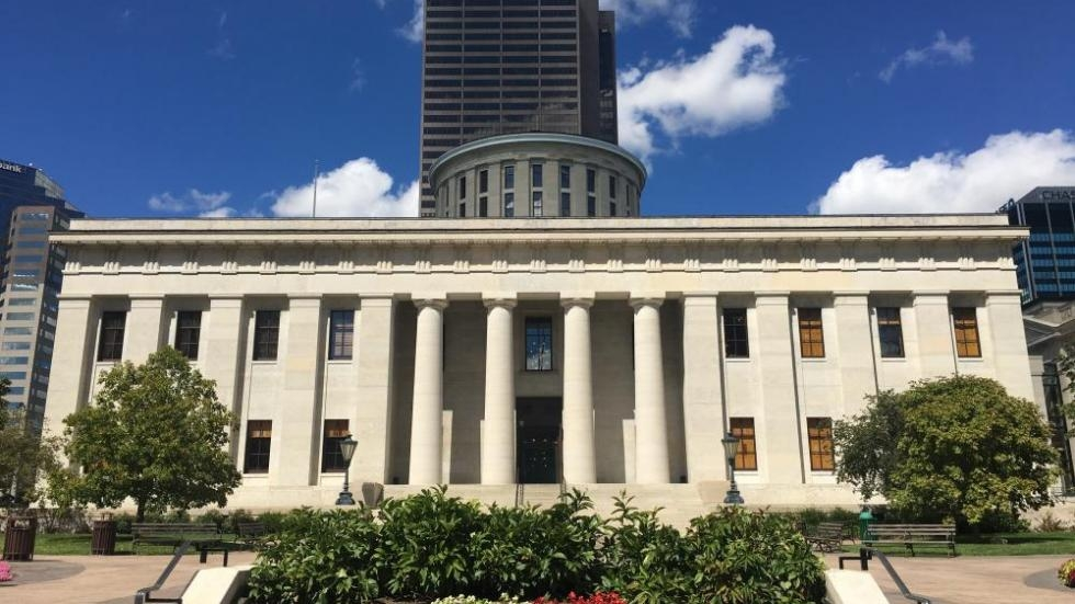 A sunny day at the Ohio Statehouse.