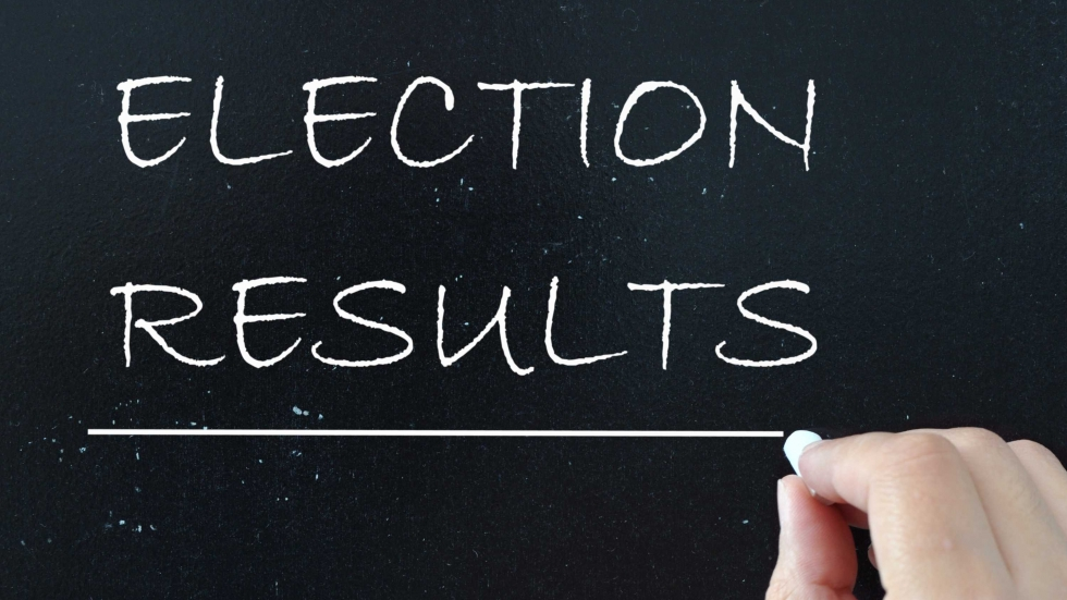 "Stock photo of ""Election Results"" written on a chalk board"