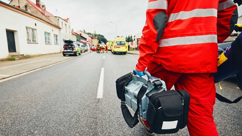 Stock photo of an emergency worker.