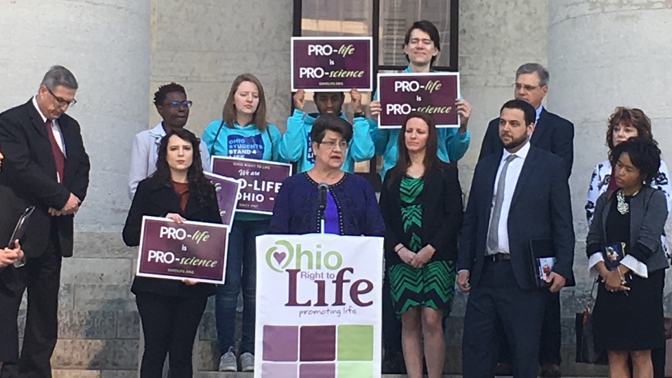 "Sen. Peggy Lehner (R-Dayton) was joined by abortion opponents on the steps of the Statehouse in Columbus to announce a bill requiring doctors to provide women undergoing medication-induced abortions on a ""reversal"" procedure.  [Jo Ingles / Statehouse News Bureau]"