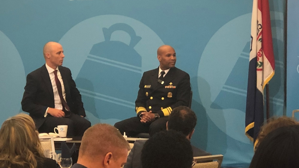 U.S. Surgeon General Dr. Jerome Adams discusses recent spike in overdose deaths in Cuyahoga County's African-American community at the City Club May 29.