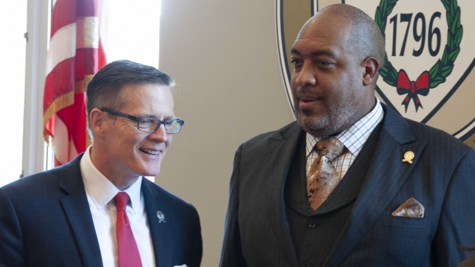 Kevin Kelley and Blaine Griffin at Cleveland city council