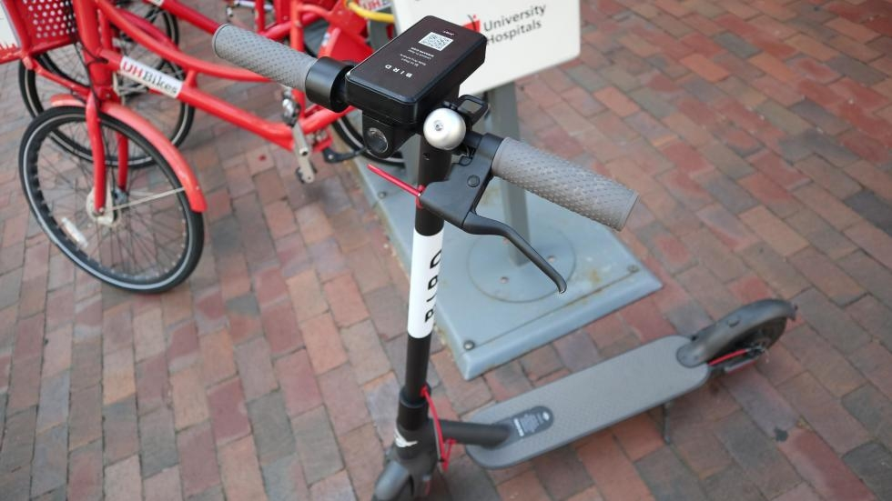 A Bird electric scooter in Cleveland before the company decided to temporarily remove them.