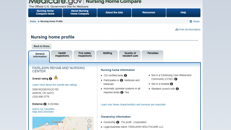 The CMS Nursing Home Compare website allows users to search for local facilities