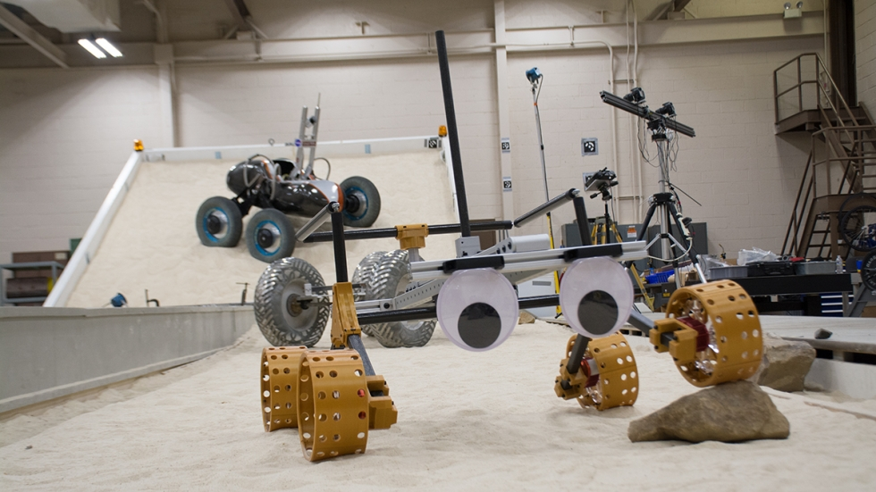 Researchers at NASA Glenn test rover components in the SLOPE lab.