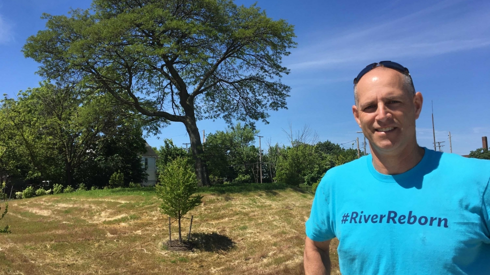 NEORSD's Matt Scharver says an neighborhood locust tree was preserved in designing the Buckeye Road project.