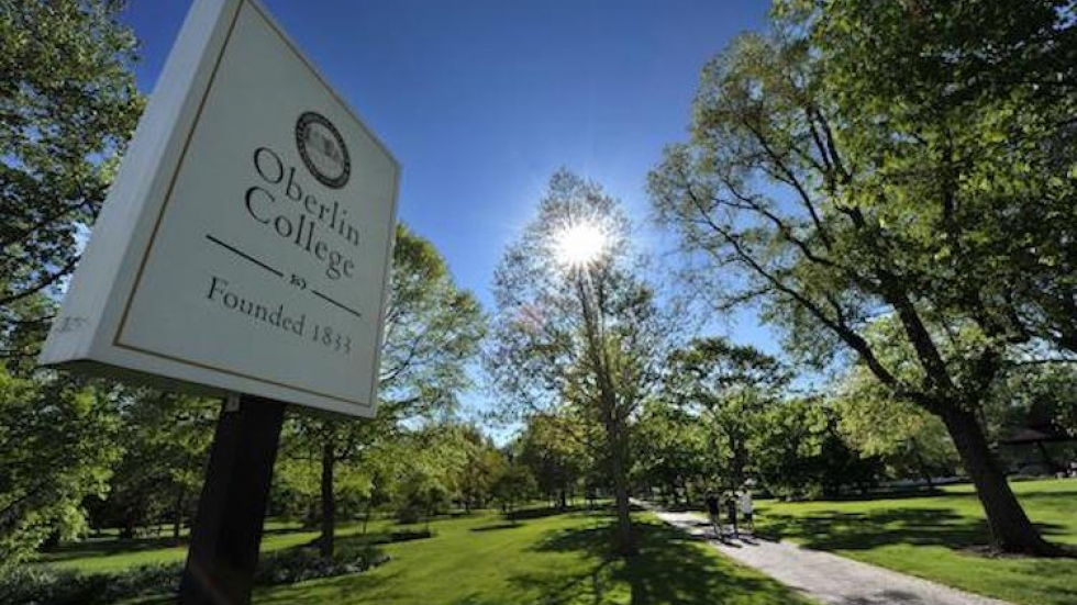 A sign for Oberlin College.