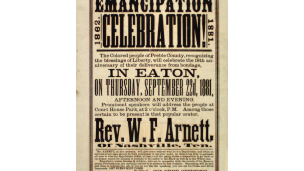Emancipation Celebration poster from 1881