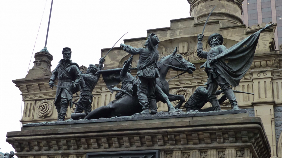 The Cuyahoga County Soldiers and Sailors Monument in Cleveland's Public Square. The names of 107 African-American Civil War veterans are being added to the Roll of Honor.