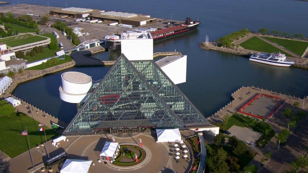 The Rock and Roll Hall of Fame in Cleveland, perched on the shores of Lake Erie